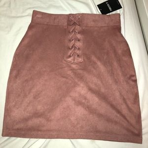 Brand new suede pink skirt from forever 21